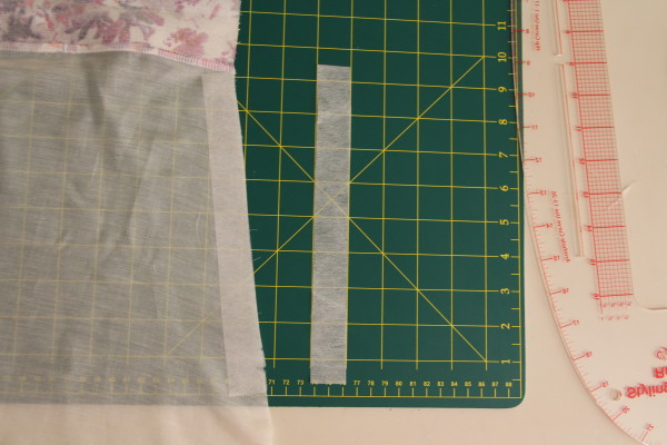 Adding fusible interfacing to lining fabric for additional zipper support
