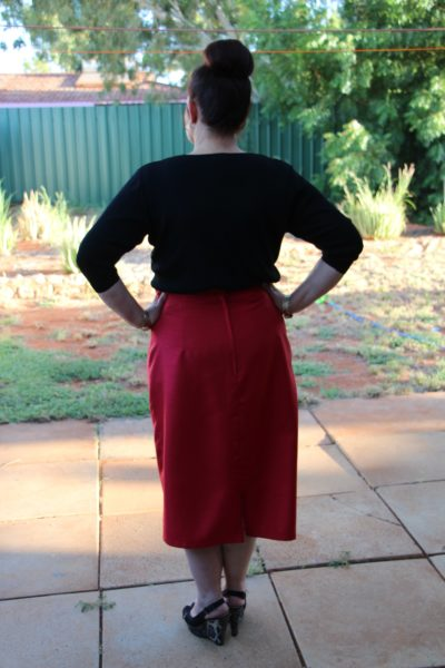 High Waisted Pencil Skirt Rear View
