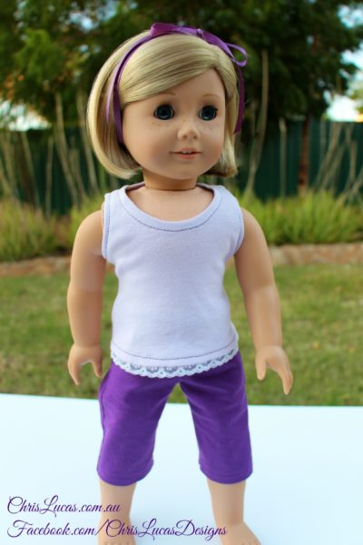 American Girl Doll Capri Pants - Tank Top with Lace Trim - Chris Lucas Designs - AG Doll Kit